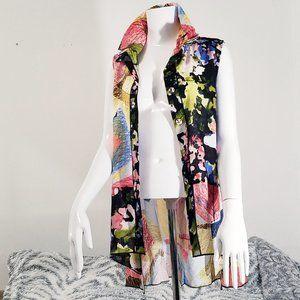 Fleur di Lis Shirt NWT Watercolor Hi Lo Button Up